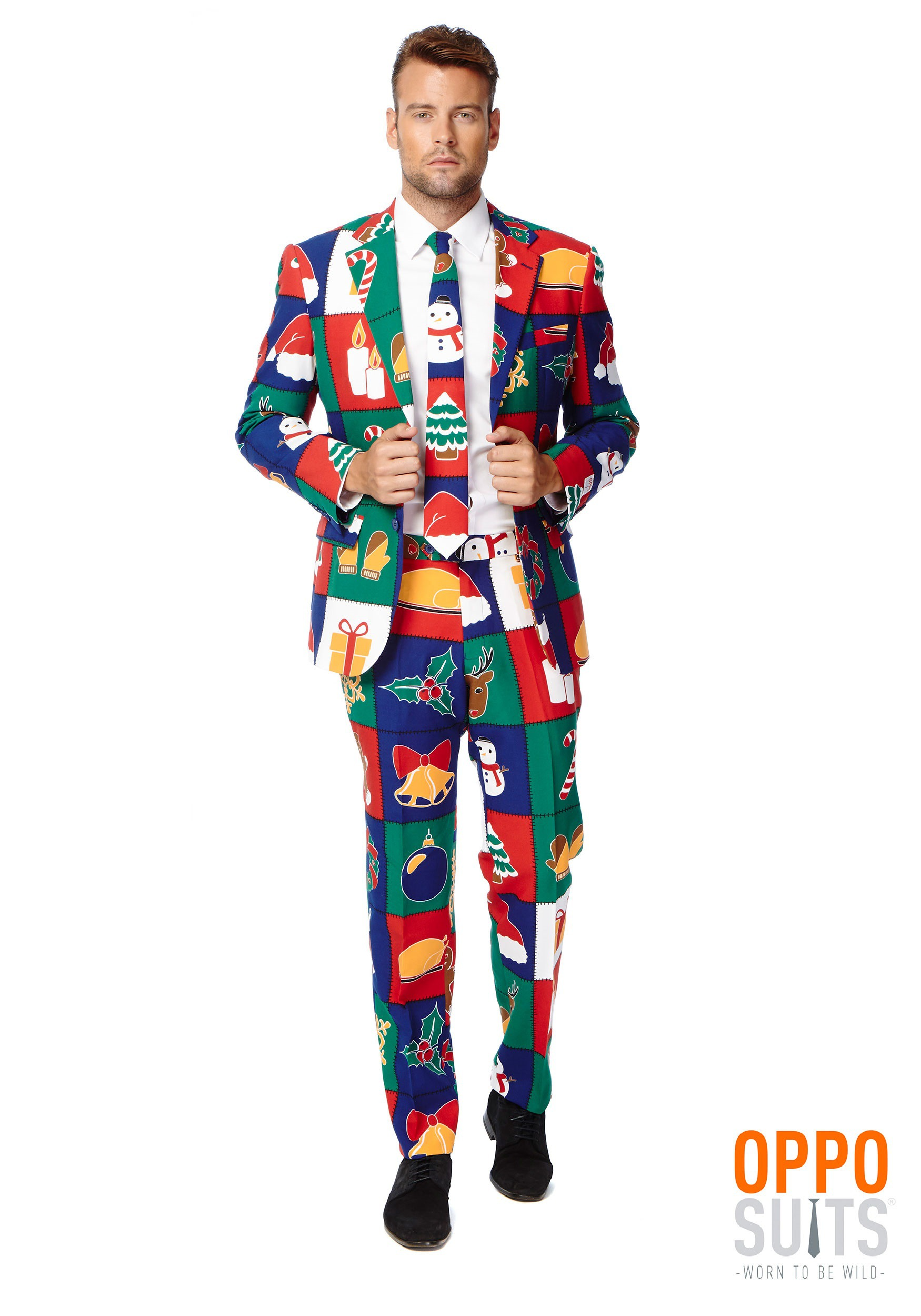 INOpets.com Anything for Pets Parents & Their Pets Men's Quilty Pleasure Holiday Opposuit Fancy Dress Costume