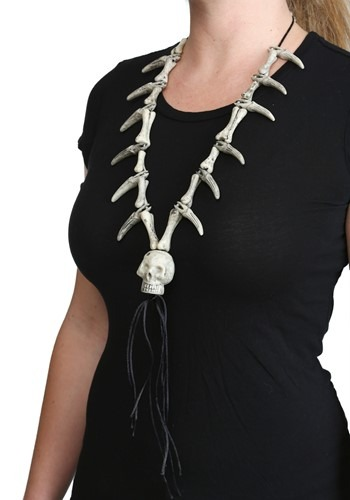 Faux Ivory Necklace W/ Skull Pendant