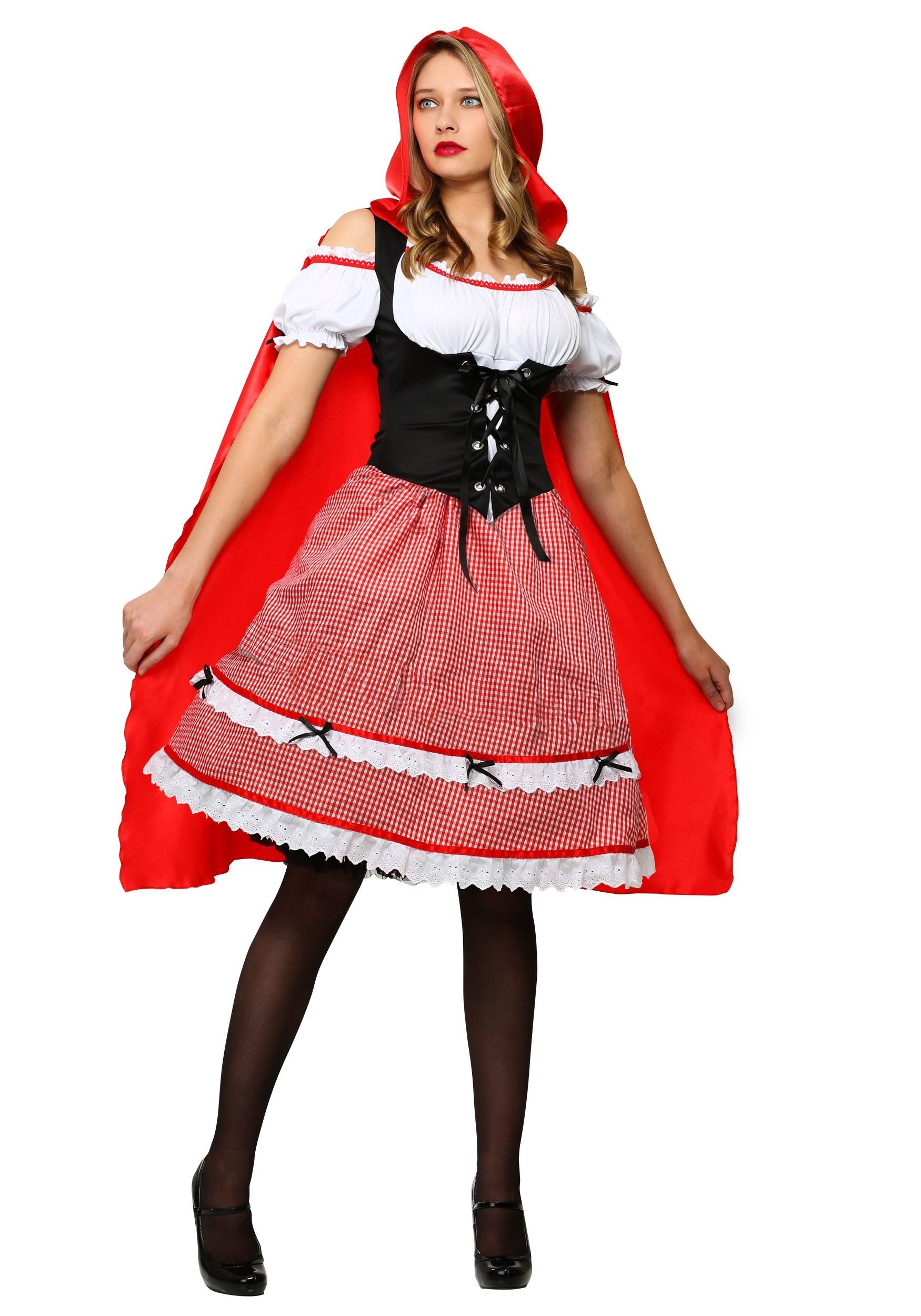 Plus size costumes sexy mens womens plus size halloween costumes plus size knee length red riding hood costume solutioingenieria Image collections