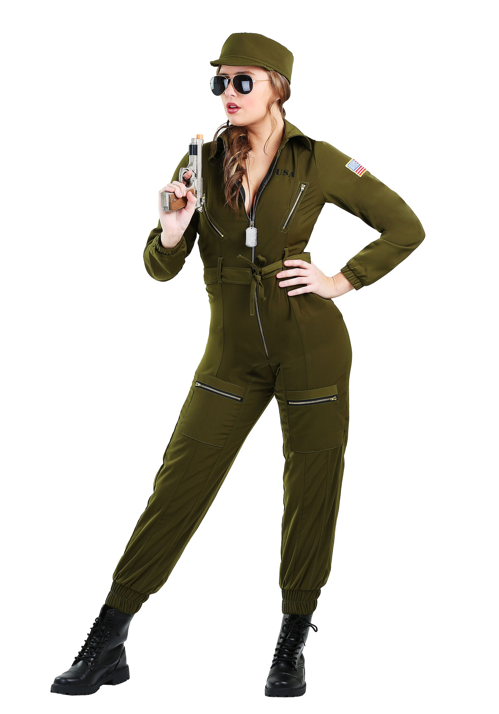 Womens Army Flightsuit Costume  sc 1 st  Halloween Costumes UK & Military Costumes - Adult Kids Army and Navy Halloween Costume