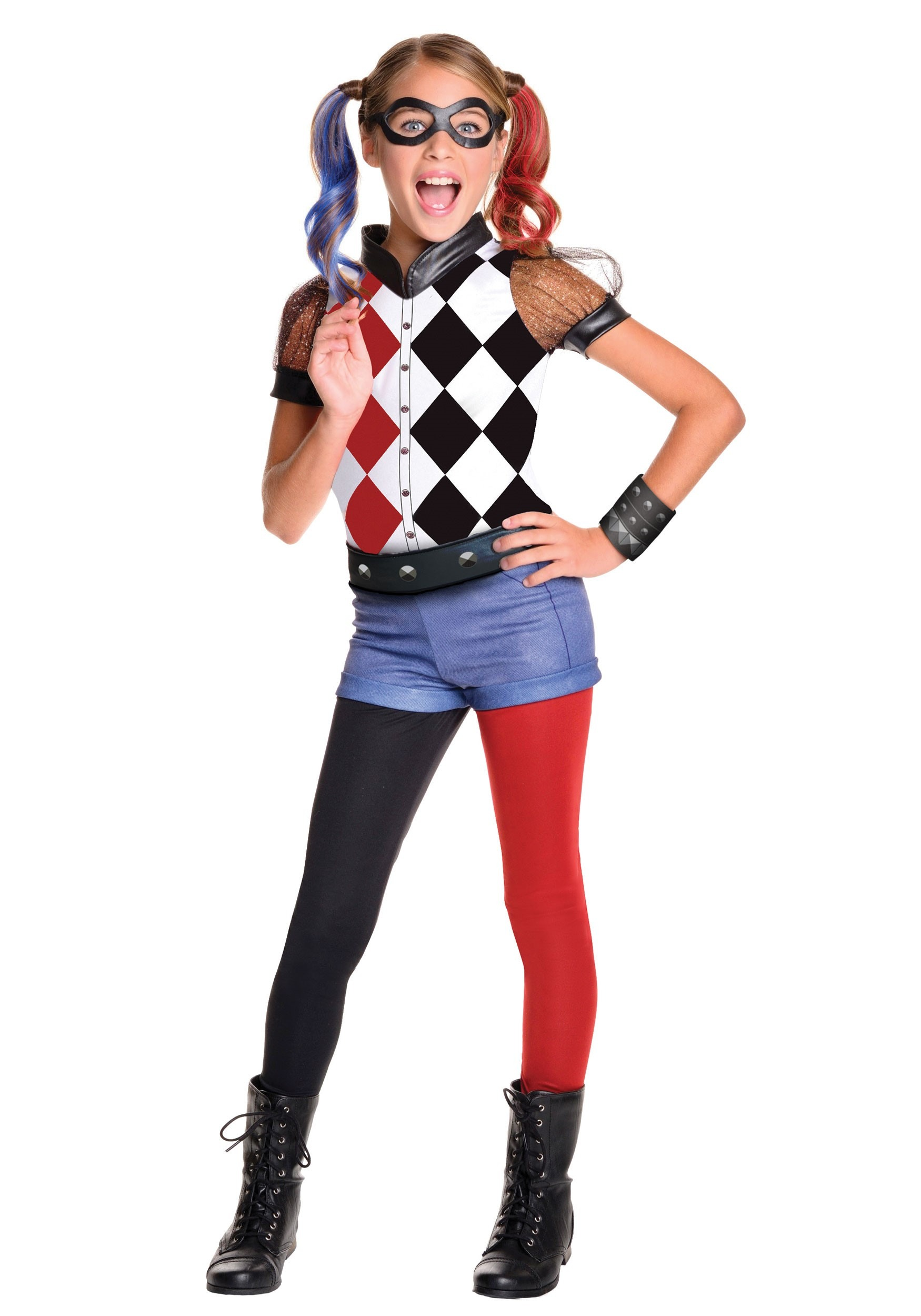 DC Superhero Girls Deluxe Harley Quinn Costume  sc 1 st  Halloween Costumes UK : halloween girls costume  - Germanpascual.Com