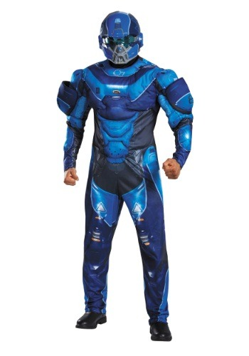 Adult Blue Spartan Muscle Chest Costume