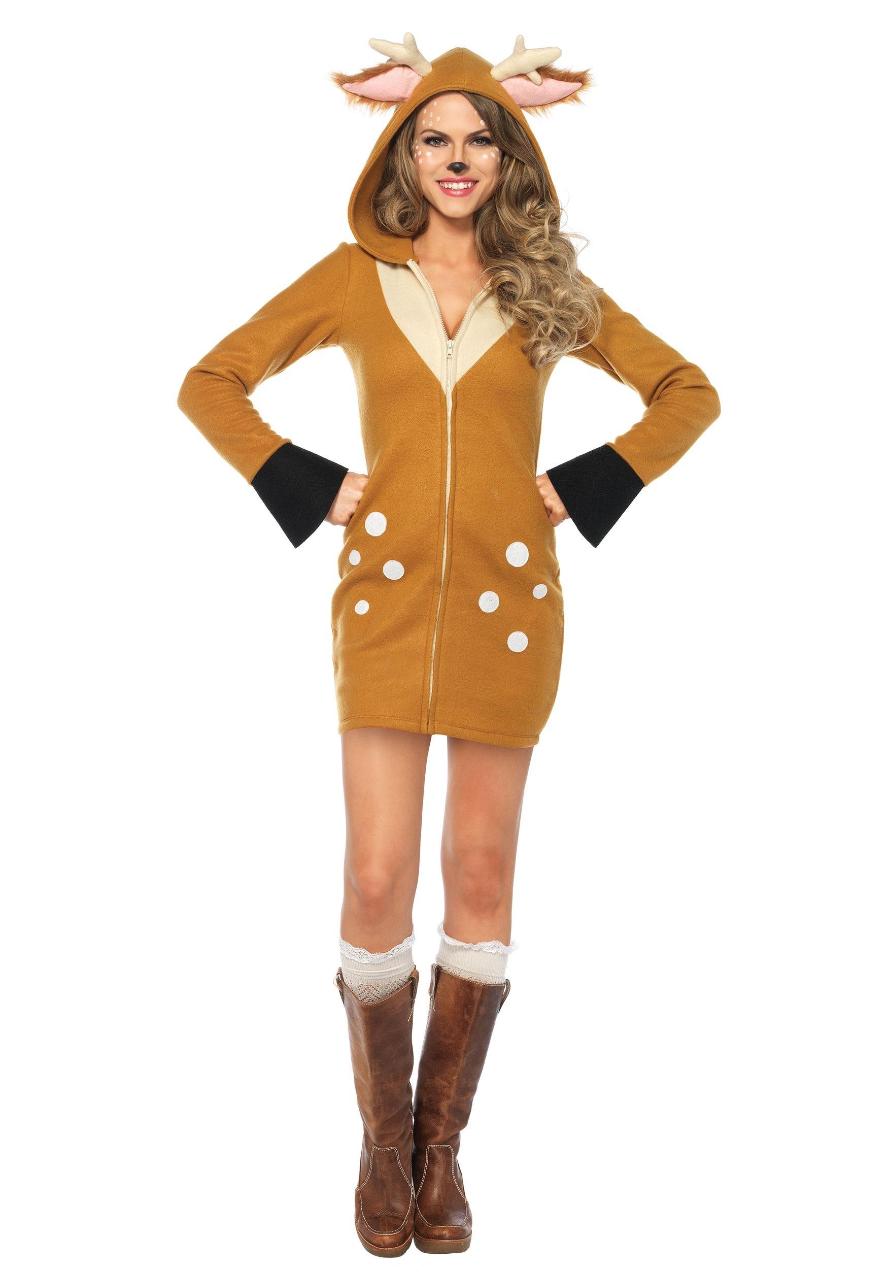 Cozy Fawn Deer Animal Dress Women Adult Costume