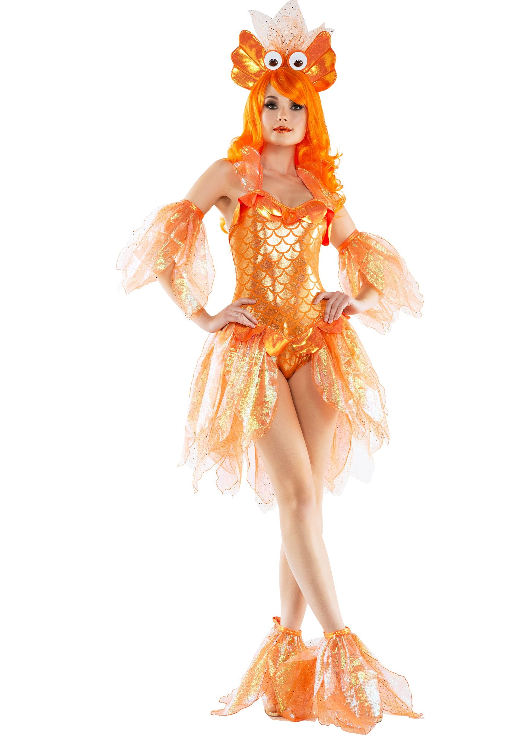 Women 39 s sexy goldfish costume for Fish costume men
