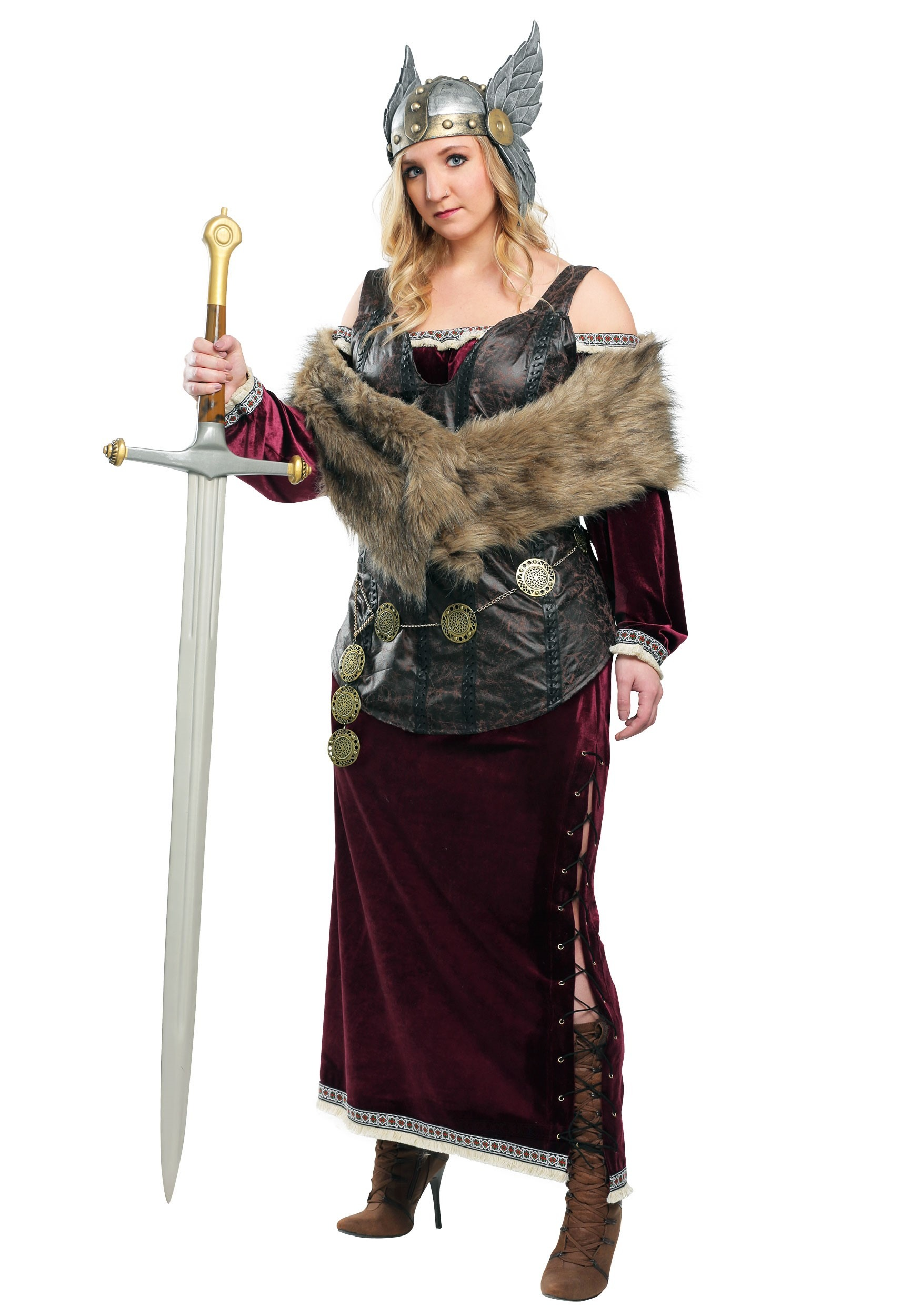 4cc7fcd5581 Women s Plus Sized Viking Goddess Costume