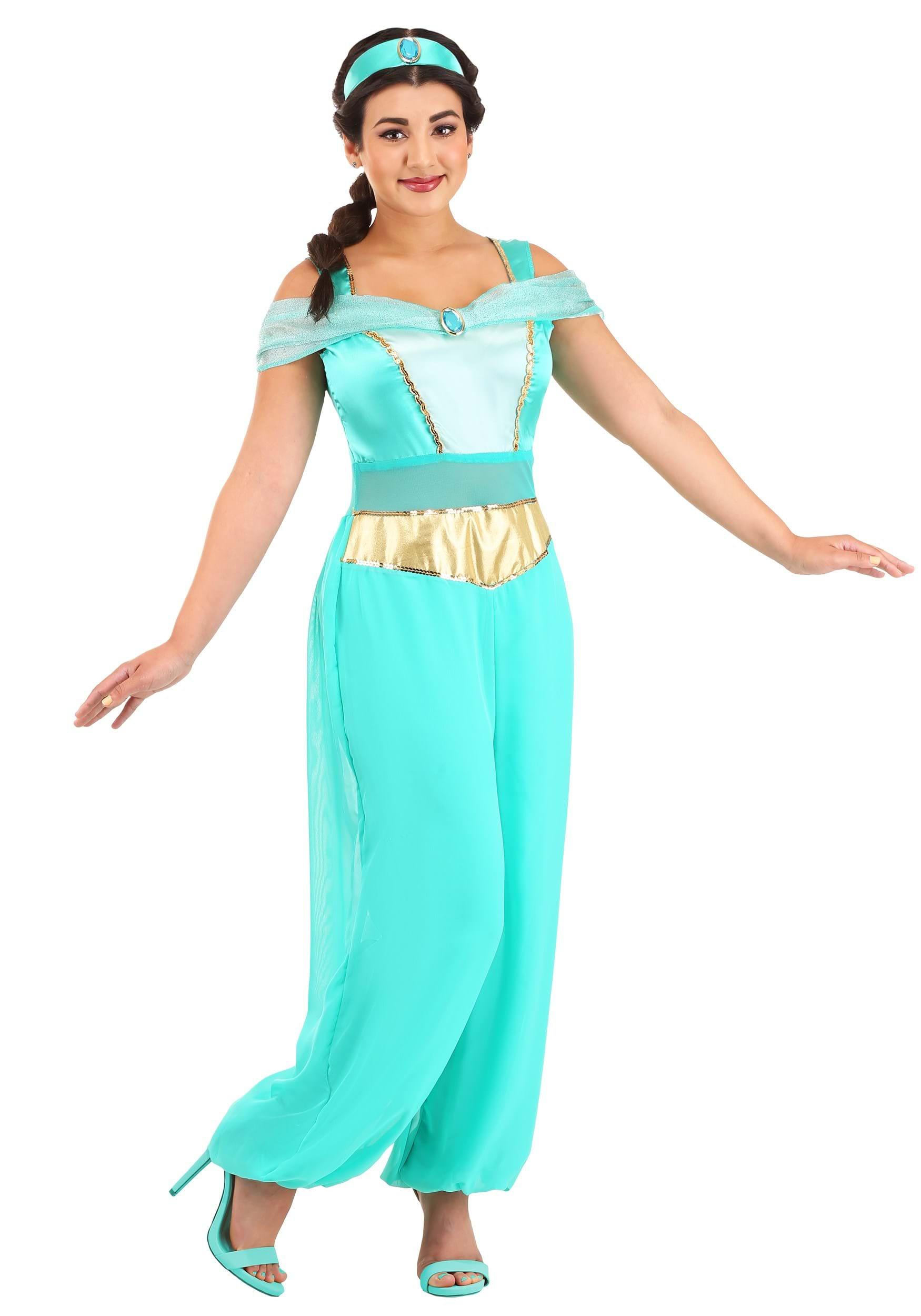 Womenu0027s Jasmine Deluxe Costume  sc 1 st  Halloween Costumes UK & Aladdin Costumes - Adult Kids Aladdin and Jasmine Costumes