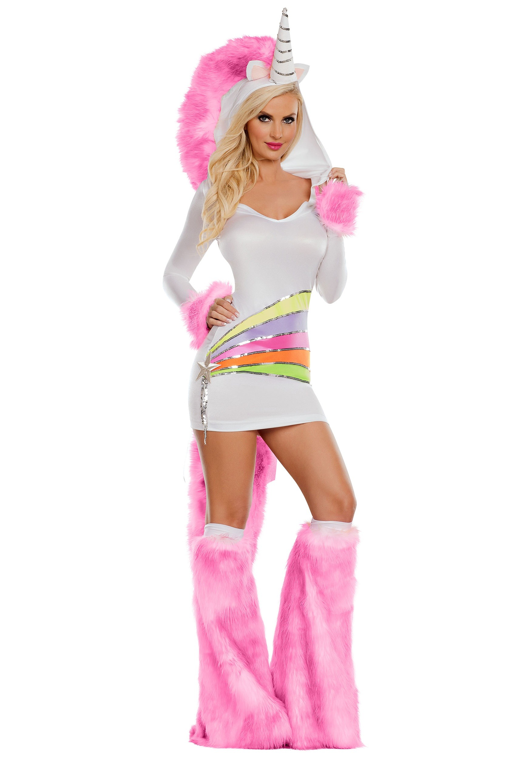 INOpets.com Anything for Pets Parents & Their Pets Rainbow Unicorn Women's Fancy Dress Costume