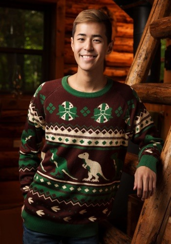 Mens Holiday Dinosaur Sweater
