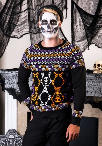 Day of the Dead Dancing Skeletons Ugly Halloween Sweater