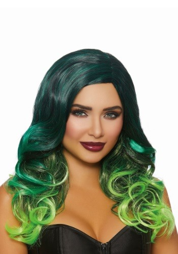 Women's Long Wavy Black/Green Ombre Wig