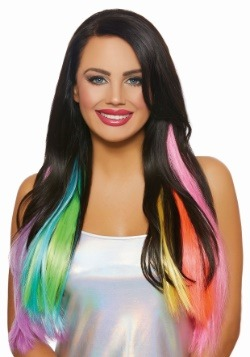 Long Wavy 3-Piece Neon Rainbow Hair Extensions