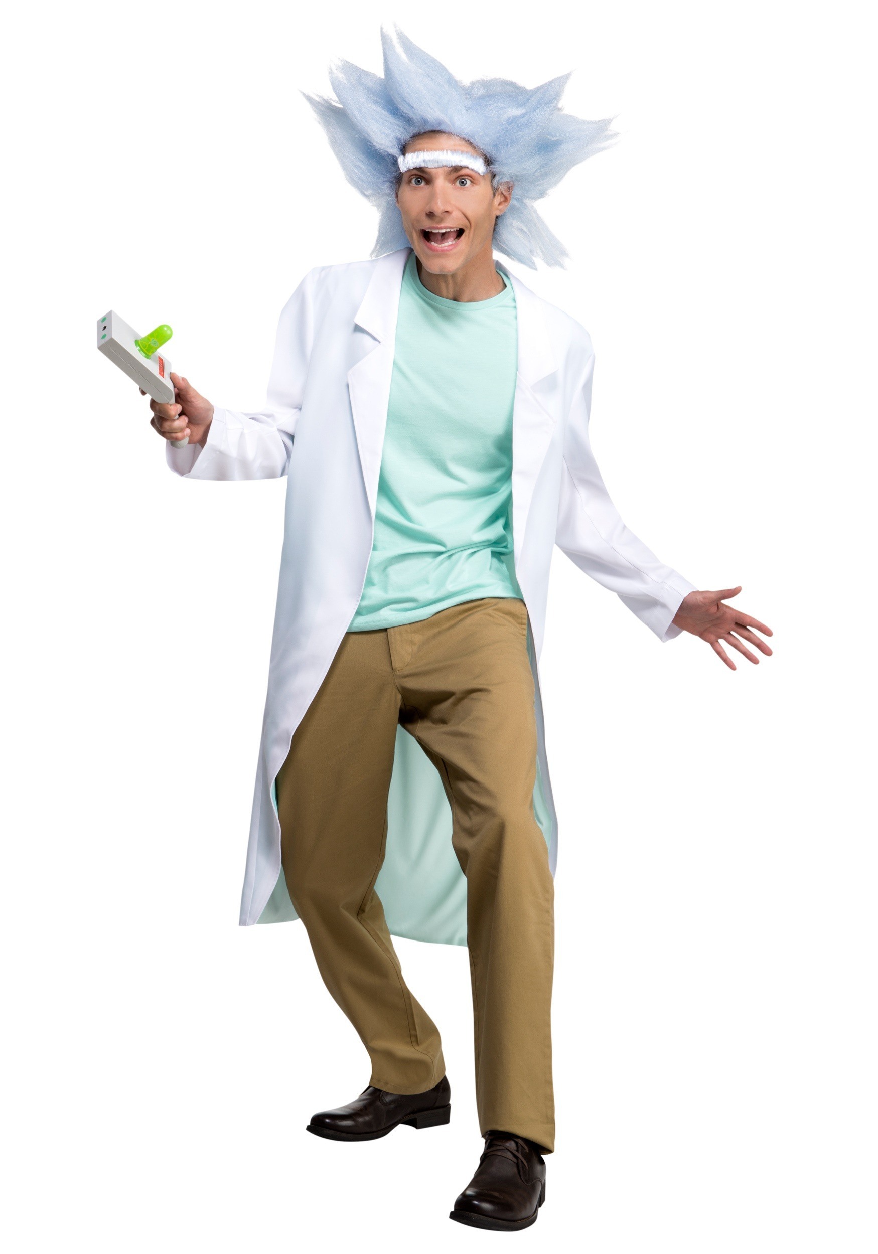 Deluxe Rick and Morty Adult Rick Fancy Dress Costume with Wig & Unibrow