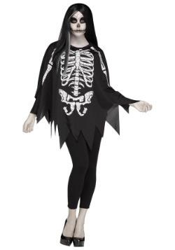 Women's White Bones Poncho Costume