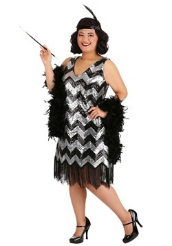 Plus Size Fringe Silver and Black Flapper Dress