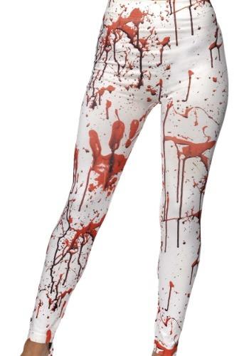 Women's White Blood Splattered Leggings