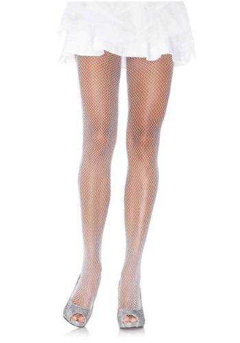 Women's White Shimmer Fishnet Tights