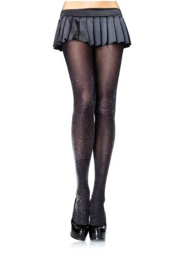 Women's Black and Silver Lurex Tights