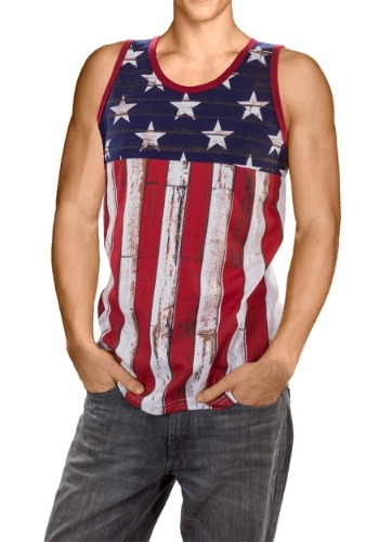 Mens Distressed USA Flag Tank Tee1