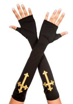 Women's Gold Cross Fingerless Gloves