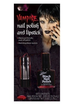 Black Nail Polish and Lipstick