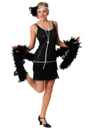Sequin & Fringe Black Flapper Dress
