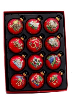 Twelve Days of Christmas Glass Ball Ornament 12 Piece Set