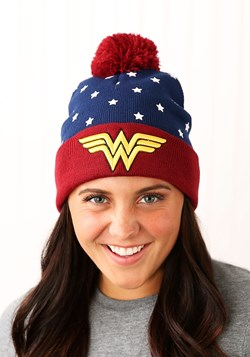 DC Wonder Woman Navy Red Gold Jrs Cuff Knit Hat
