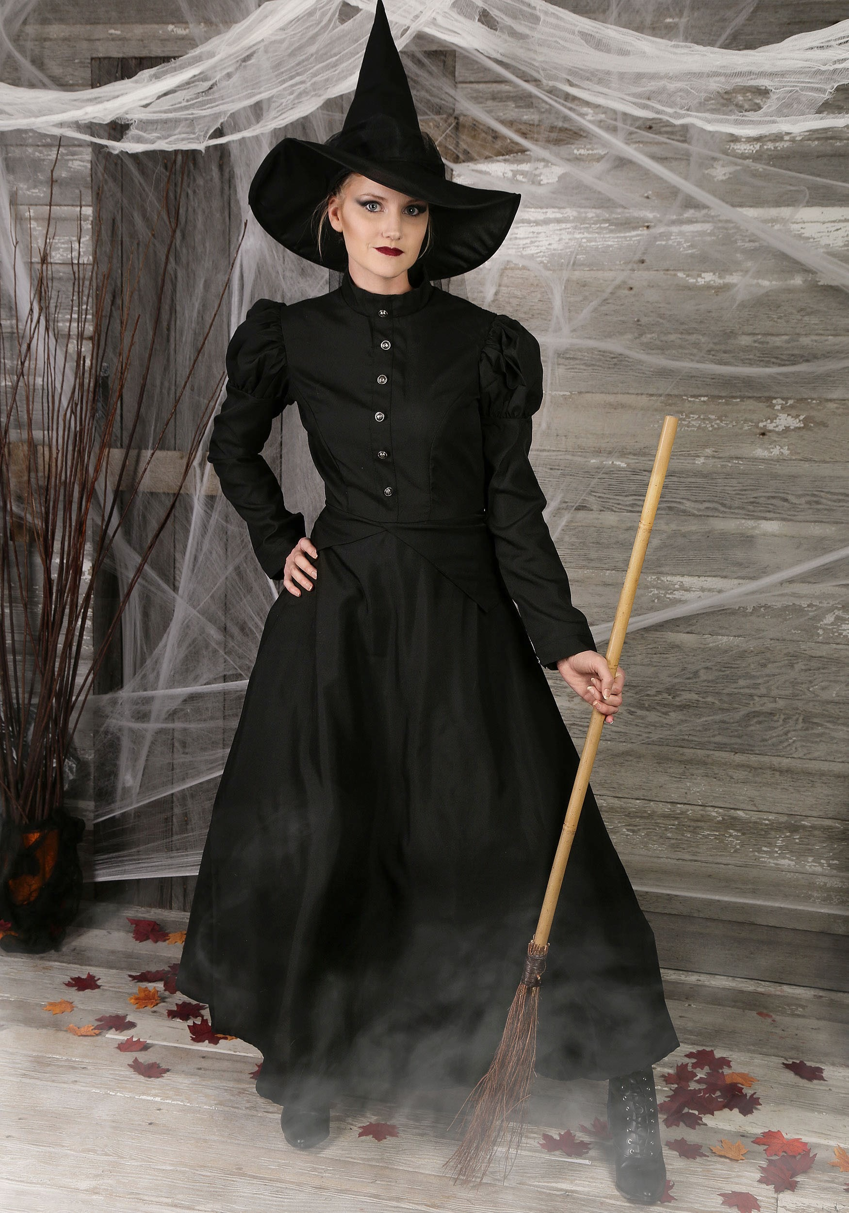Deluxe Witch Hat Halloween Scary Wizard Bow Women/'s Fancy Dress Costume