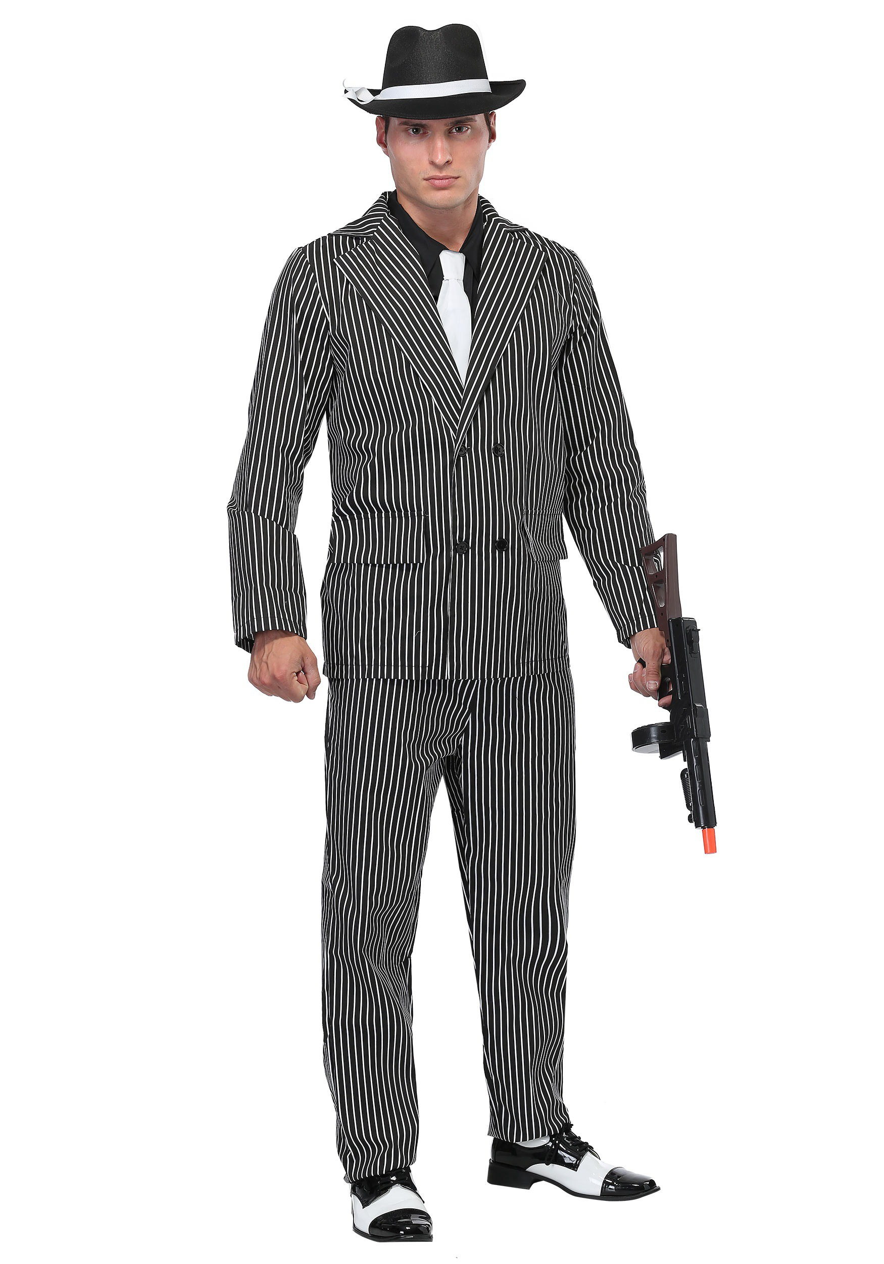 Menu0027s Wide Pin Stripe Gangster Costume  sc 1 st  Halloween Costumes UK & Great Gatsby Costumes