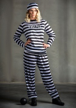 Womens Striped Prisoner Costume
