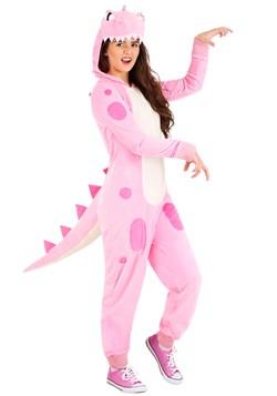 Women's Pink Dinosaur Onesie Main