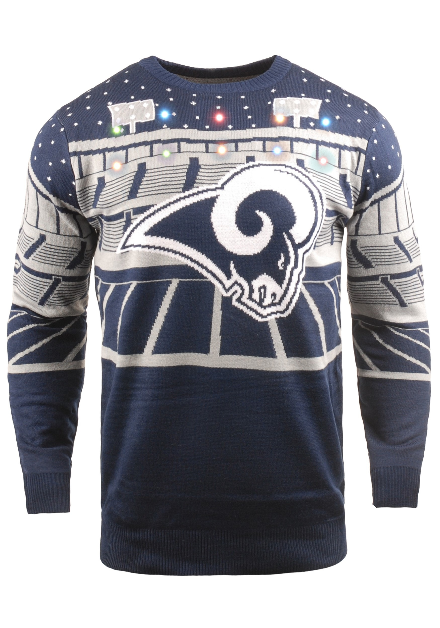 check out 55cf9 7628c Light Up Bluetooth Los Angeles Rams Ugly Christmas Sweater