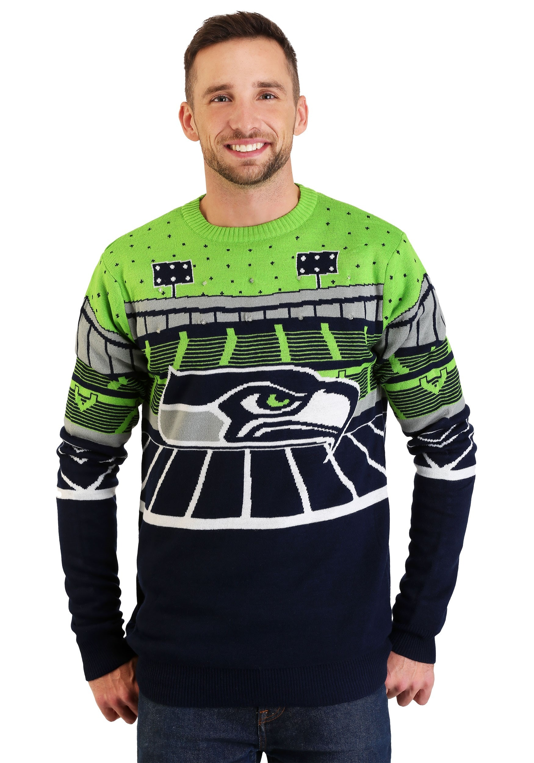 sale retailer fc119 2abf8 Seattle Seahawks Light Up Bluetooth Ugly Christmas Sweater