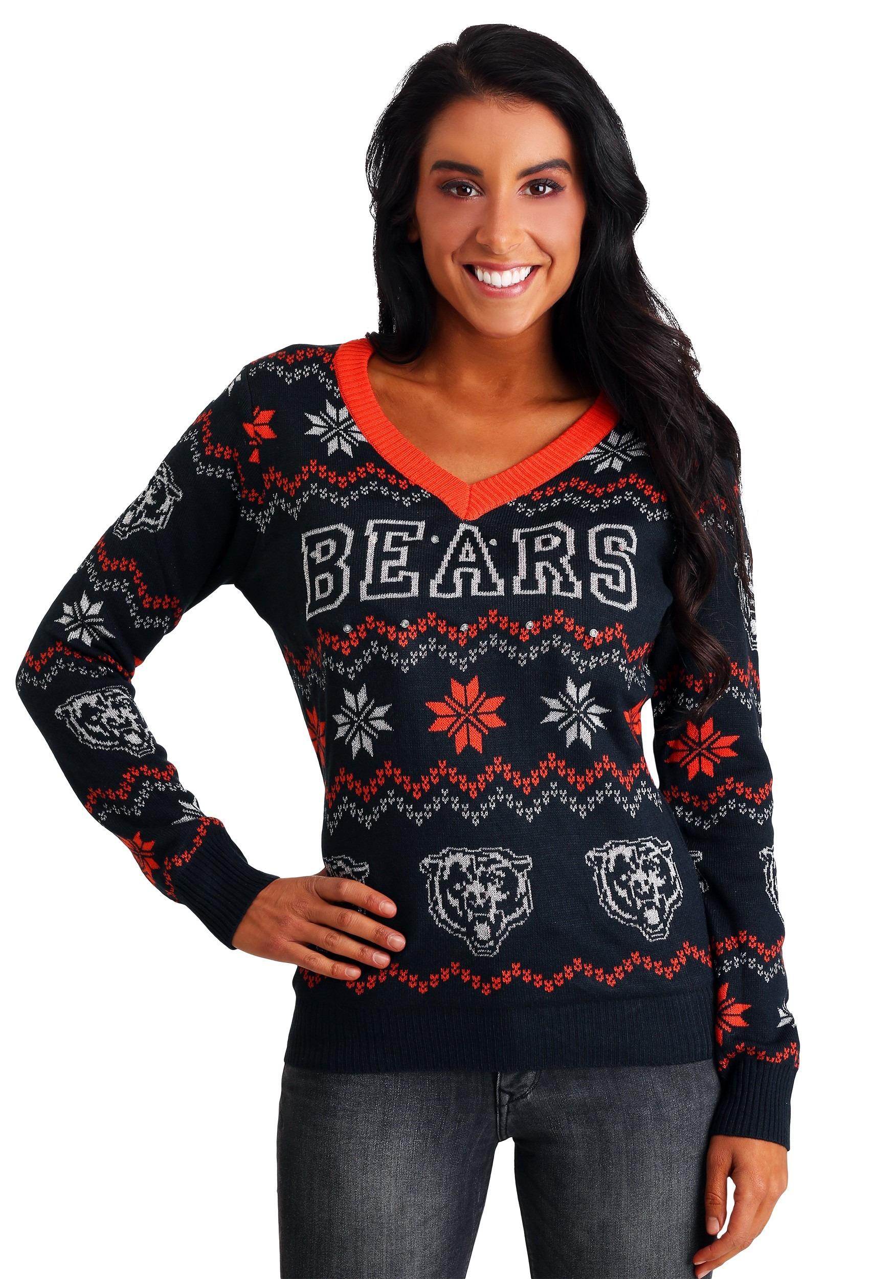 sale retailer 7cdd3 75857 Women's Chicago Bears Light Up V-Neck Ugly Christmas Sweater