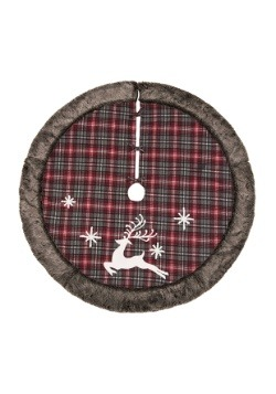 Rustic Fabric Reindeer Tree Skirt