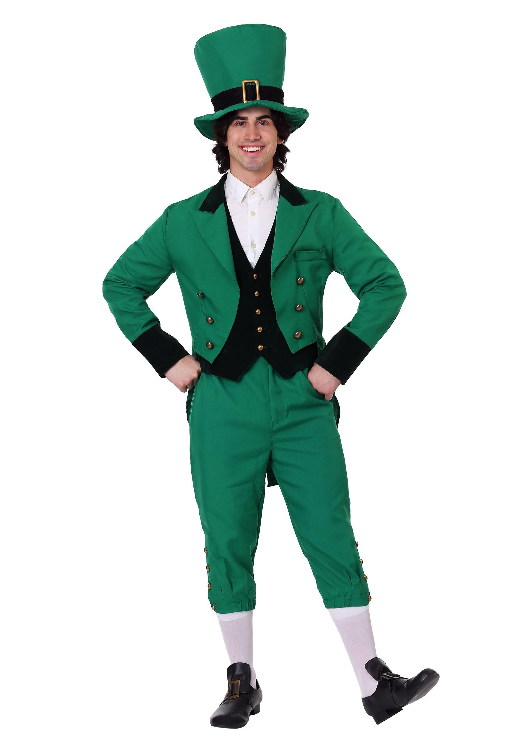 Lucky Leprechaun Costume Set Adult St Patrick Irish Pullover Top Hat Bow Tie O//S