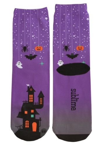 Halloween Haunted House Adult Crew Cut Socks