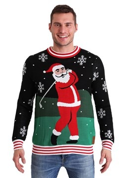 Tipsy Elves Men's Golfing Santa Ugly Christmas Sweater