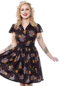 Sourpuss Feline Spooky Halloween Lydia Dress