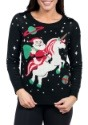 Tipsy Elves Womens Santa Riding Unicorn Ugly Christmas Sweat