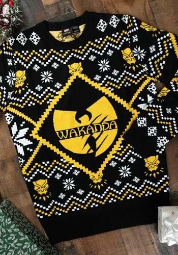 Black Panther Wakanda Black/Gold Intarsia Knit Ugly Sweater