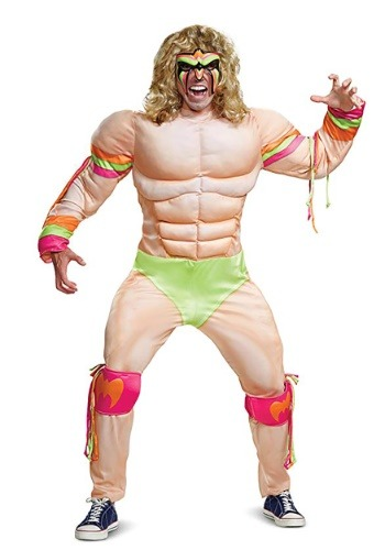 Mens WWE Ultimate Warrior Muscle Costume