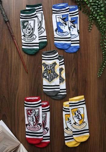 Womens Hogwarts Houses 5-Pair Lowcut White Socks