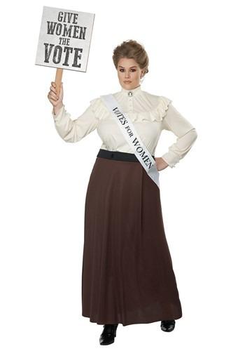 Women's Plus English Suffragette Costume