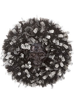Tinsel Skull 18in Halloween Wreath