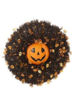 Tinsel Pumpkin 18in Halloween Wreath