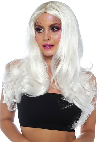 Women's Black Light Long Wavy White Wig