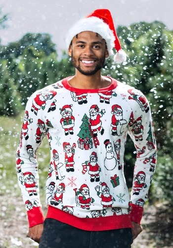 Adult Repeating Santa Pattern Unisex Ugly Christmas Sweater1