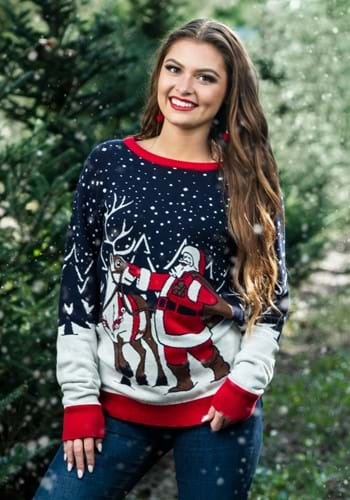 Adult Santa & Reindeer Unisex Ugly Christmas Sweater 2