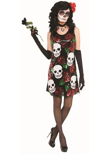 Women's Sequin Day of the Dead Dress